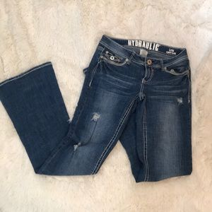 Hydraulic Lola Curvy Flare Distressed Jeans 5/6